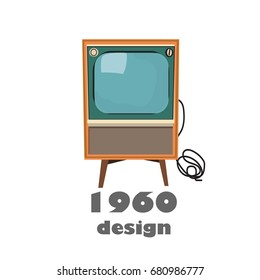 vector tv illustration. interior design mid century modern. vintage retro. history of television.