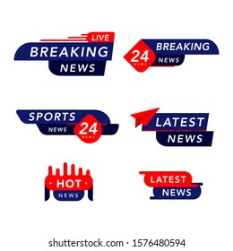 vector tv news banner interface set. news label strip icon, live, hot, sports and latest, breaking news. live stream inscription. red and blue media labels on isolated white background.