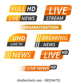 Vector tv news banner interface , news label strip or icon, live news, breaking news, full Hd, ultra HD, dramatization, live stream inscription. Yellow set of media labels on white background