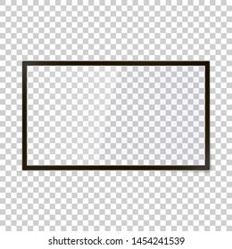 Vector tv screen isolated on transparent background. Template for movies, news, advertising. Empty transparent screen to add your picture. Realistic shadows and reflections. Widescreen horizontal TV.
