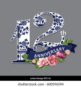 Vector Twelve Years Anniversary Celebration Design. Traditional Oriental Chinese porcelain style.