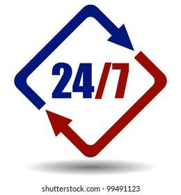 Vector twenty four seven symbol