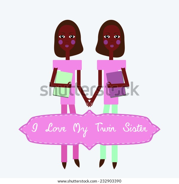 Vector Twins Love My Twin Sister Stock Vector Royalty Free