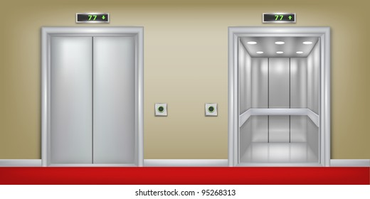 Vector two 3d elevator background. Part of set.