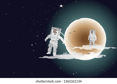 vector two astronauts floating on the space