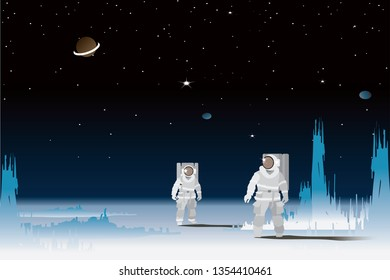 vector two astronauts standing on the star surface