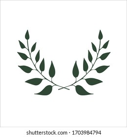 Vector two branches. Eco banner with two branches. Symbol, logo, emblem for healthy food, drink, vegan, vegetarian food ecological symbol. Vector ecologic sign with two green leaves