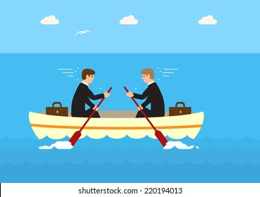 A vector of two businessmen in the same boat but rowing against each other and not moving. A metaphor on the effects of not working as a team.