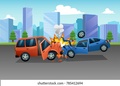 A vector of Two Cars in an Accident