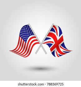 vector two crossed american and british flags on silver sticks - symbol of united states of america and united kingdom