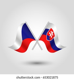 vector two crossed czech and slovak flags on silver sticks - symbol of czech republic and slovakia