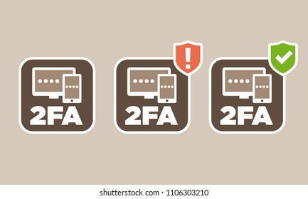 Vector two factor authentication icons with not set up and set up indicator versions