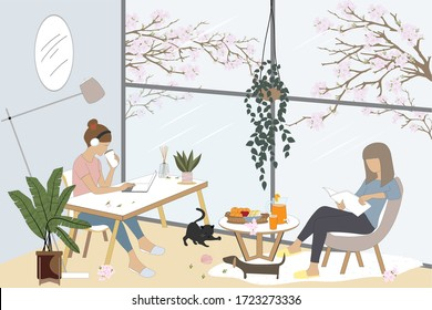 Vector two freelance women working on laptop and sitting on chair reading a book with cat and dog playing on floor in living room,Daily life activity or hobby at home during quarantine