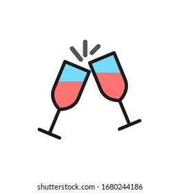 Vector two glasses clink flat color line icon.
