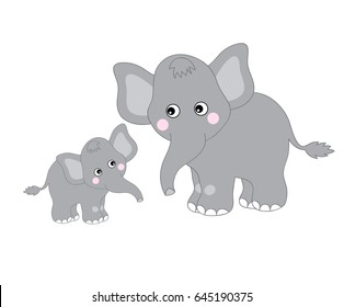 Vector two grey cute elephants looking at each other, baby elephant, elephant clipart, vector illustration