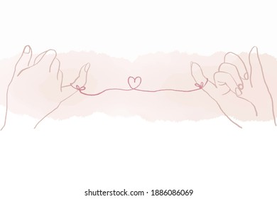 Vector of two hands, bonding with love string. Be able to used in Valentines' day, wedding ceremony, invitation card. Concept of love, trust and vow for couples.