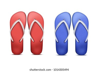 Vector two pair of red and blue beach flip-flops wedge flip havaianas sandals isolated on white background