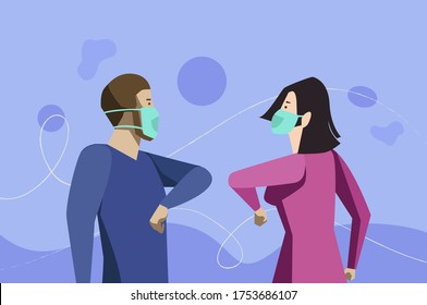 Vector of Two people bump elbows to avoid coronavirus. keeping social distance, greeting each other by bumping elbows instead of hugs or handshaking, preventing covid 19 coronavirus infection spread.