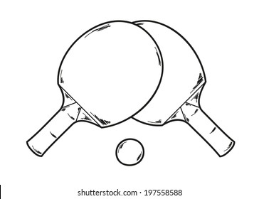 vector, two ping pong rackets and ball, sketch