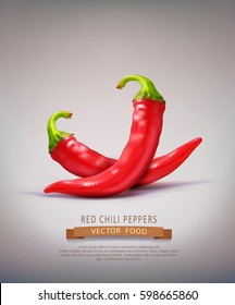 Vector two red hot chilli peppers isolated on a brown background