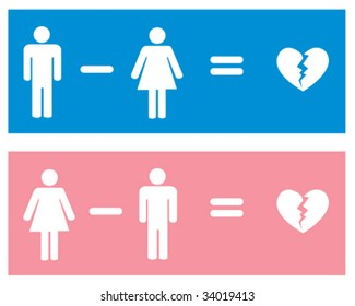 Vector - Two relationship themed images illustrating the equation for a broken heart. Each element can be used individually.