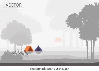 vector two tents setting in the forest