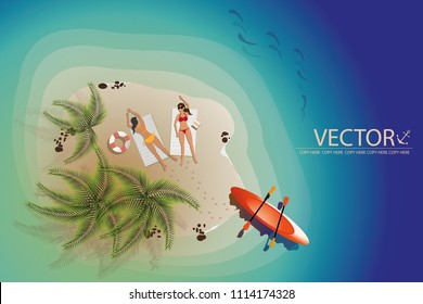 vector two young girls sunbath on the small island beach.paradise.summer