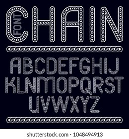 Vector type font, script from a to z. Upper case creative letters made with steel chain link, joined link.