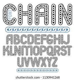 Vector type font, script from a to z. Capital decorative letters created using chrome chain, linkage.