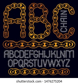 Vector type font, script from a to z. Upper case creative letters, abc made with steel chain link, joined link.
