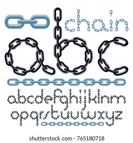 Vector type font, script from a to z. Lower case decorative letters, abc created using chrome chain, linkage.