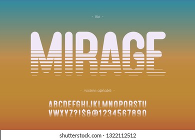 Vector typeface mirage bold style modern typography for decoration, industrial, logo, poster, t shirt, book, card, sale banner, printing on fabric. Cool 3d font. Trendy alphabet. 10 eps
