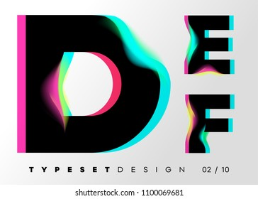 Vector Typeset Design. Neon Glitch Style. Black Bold Font, Double Exposure. Abstract Colorful Type for Creative Heading, Advertising Placard, Music Poster, Sale Banner. Trendy Neon Glowing Letters.