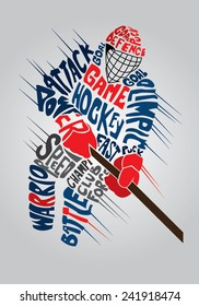 vector typographic design of dynamic ice hockey player
