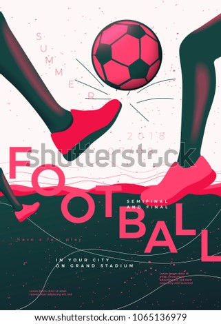 vector typographic football poster template players stock vector
