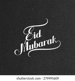 vector typographic illustration of handwritten Eid Mubarak retro label. lettering composition of muslim holy month