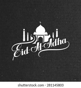 vector typographic illustration of handwritten Eid Al Adha retro label. lettering composition of muslim holy month with mosque building