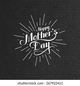 vector typographic illustration of handwritten Happy Mothers Day retro label with light rays. lettering composition