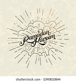 Vector typographic illustration of handwritten Ramadan Kareem retro label with light rays. lettering composition of muslim holy month.
