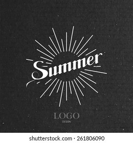 vector typographic illustration of handwritten Summer retro label with light rays. lettering logo composition