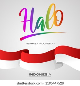 Bahasa indonesia images stock photos vectors shutterstock vector typographic illustration for local language to say hello halo is m4hsunfo