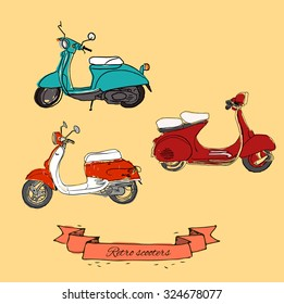 Vector typographic poster. Vector set scooter poster. Vector vintage scooter. Retro hand sketched moped illustration.