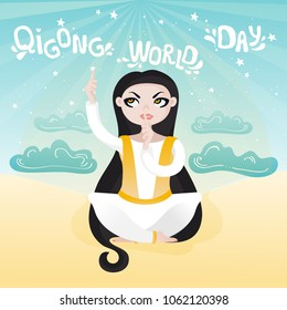 Vector typography of motivational and inspirational poster for Qigong World Day. A girl sitting in a lotus pose and doing an exercise Qigong for vision.