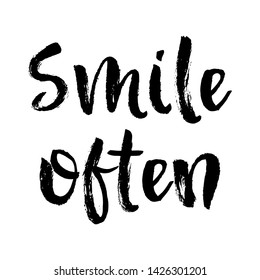 Vector Typography Poster, brush lettering calligraphy. Vintage illustration with text. Can be used as a print on t-shirts and bags, banner or poster. Smile often.