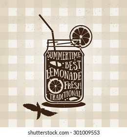 Vector typography poster with lemonade icon. Quote for card. Creative print. Silhouette style. Beverage menu illustration. Refreshing drink from lemons with herbs. Lemon Barley.