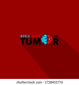 Vector Typography of World Brain Tumor Day with the brain has a tumor. good template for World Brain tumor Day design.