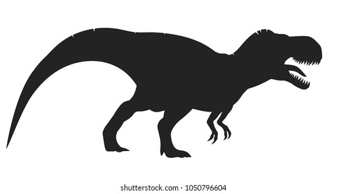 Vector tyrannosaurus rex silhouette, t-rex dinosaur isolated on white background.