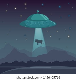 Vector UFO abducts cow illustration night sky