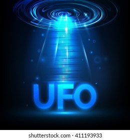 Vector UFO. Light in dark. Blue glowing. Space. Abstract alien background.