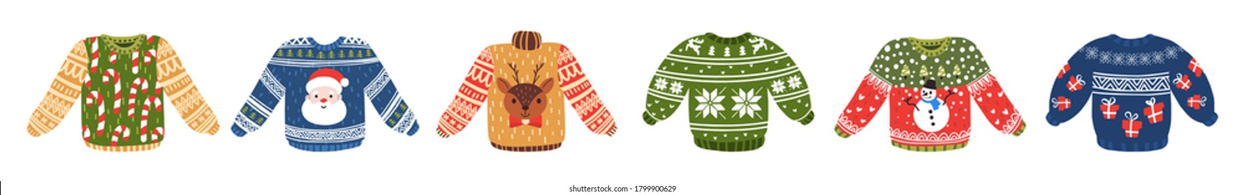 Vector ugly sweaters set for Christmas party. Warm knitted jumpers with snowflake, snowman, Santa, candy cane and deer ornament. Isolated